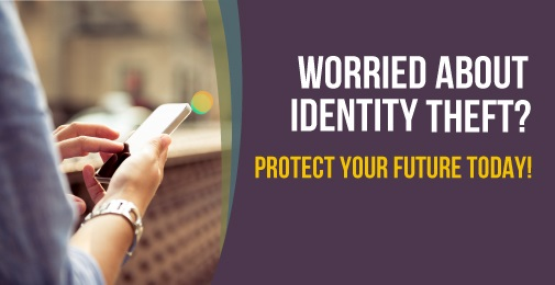 Hand holding cellphone. Identity Theft Detection and Recovery Service